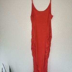 Ruched Coral Dress
